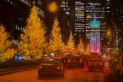 "Christmas on Park Avenue,  14 x 18"", Oil on panel"
