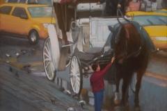 """Jackson Petting Horse on 58th Street, 36 x 28"""", Oil on linen"""