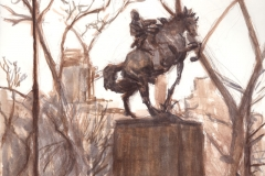 "Jose Julian Marti Monument, 14 x 11""Watercolor Pencil, Watercolor and Ink"