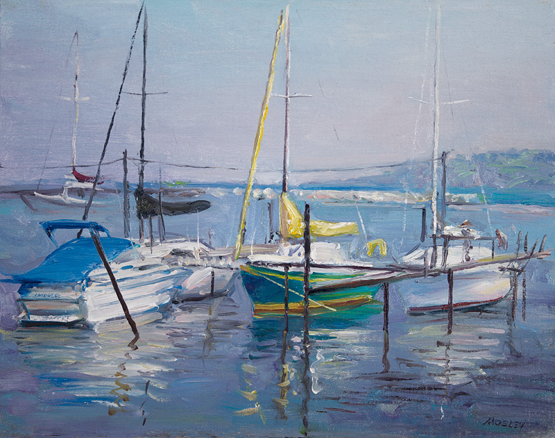 "Boats in the Harbor, Lake Erie, 12 x 16"", Oil on linen on panel,"