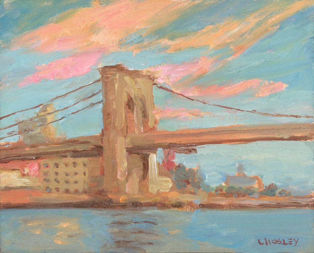 "Brooklyn Bridge Sunset, 2012, 8 x 10"", Oil on linen on panel, Exhibited 2012 Small Works Art Students League"