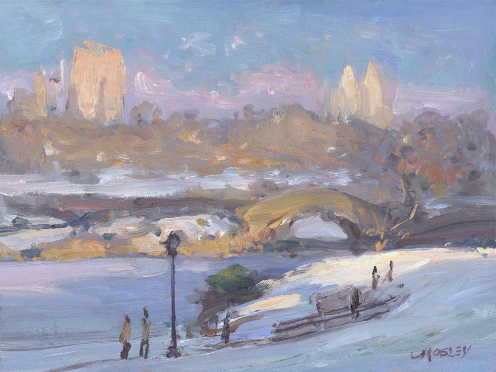 """Gapstow Bridge in Winter, 2015, 9 x 12"""", Oil on linen on panel"""