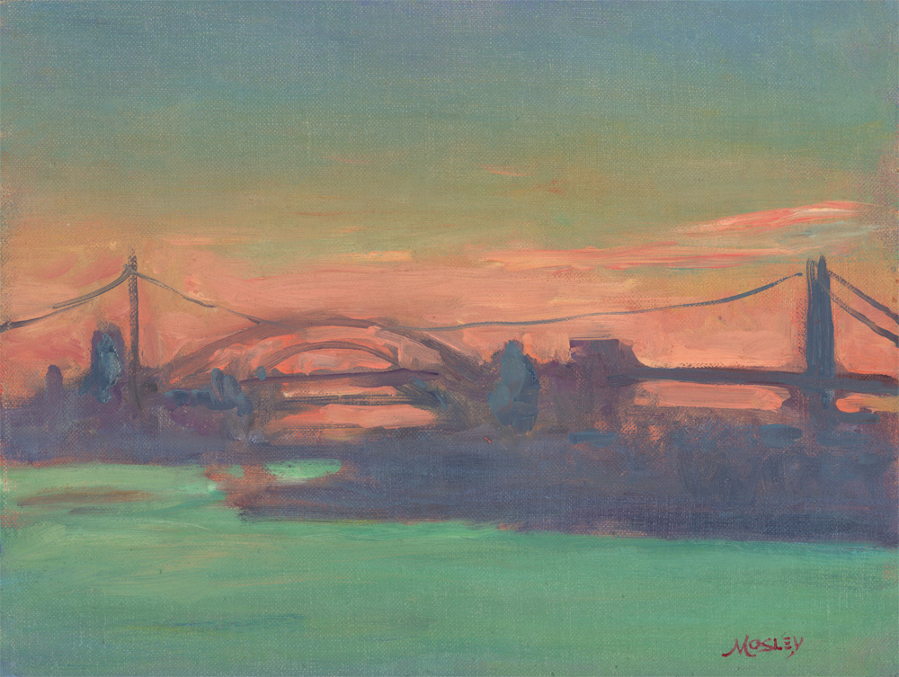 Hell Gate Sunset, 9 x 12, Oil on linen on panel