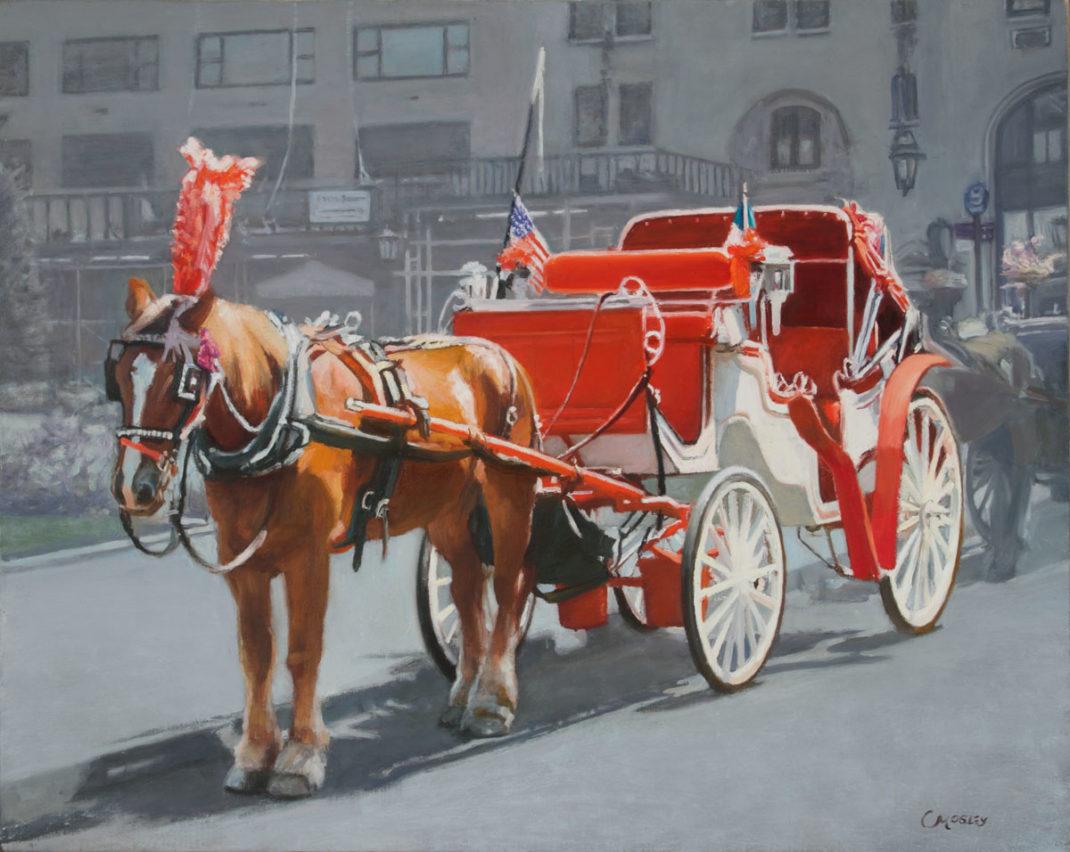 "Italian/American, Horse Carriage Near Plaza Hotel; 22x28"", Oil on linen"