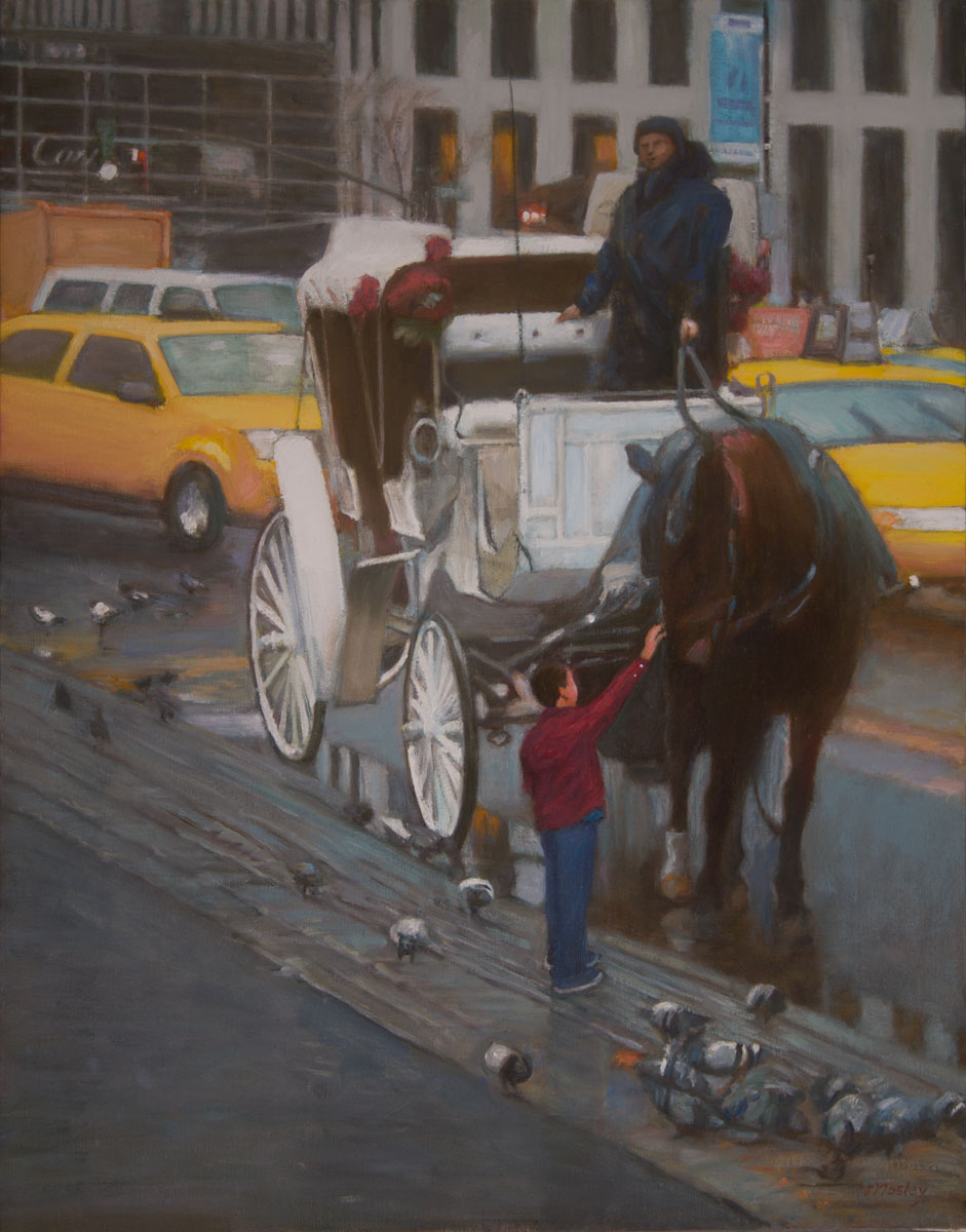 "Jackson Petting Horse on 58th Street, 36 x 28"", Oil on linen"