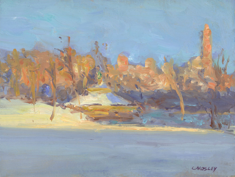 Last Light on the Carousel in Winter, 9 x 12, Oil on linen on panel