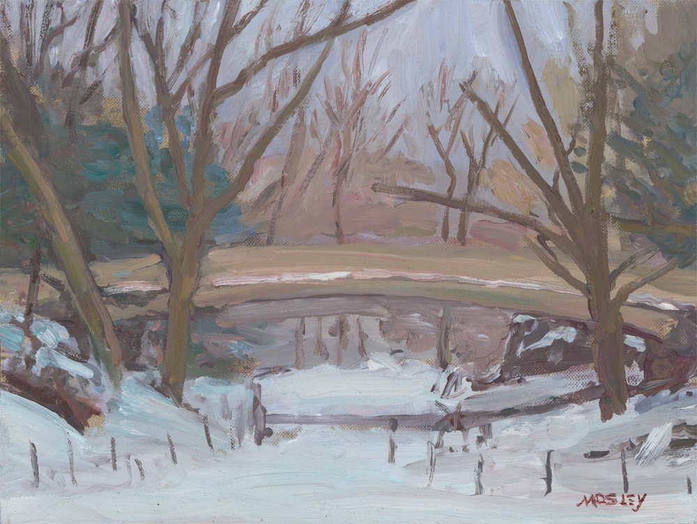 "Pine Bank Arch, February 2015, 9 x 12"", Oil on linen on panel"