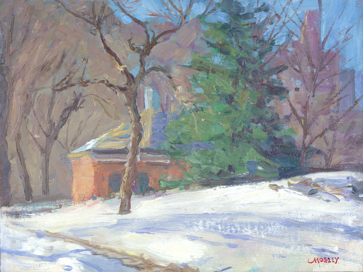 "Sheep Meadow Cafe in Winter, 2016, 9 x 12"", Oil on linen on panel"