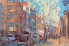 "Bedford and S Second Street in Spring, 11 x 14"", Oil on linen on panel"