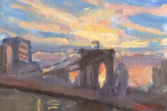 "Brooklyn Bridge from Dumbo, 6 x 8"", Oil on linen on panel, Exhibited 4th Annual Spring Art Exhibition, A Benefit for NYC's Homeless, Grand Central Neighborhood Social Services Corp., New York, NY, SOLD"