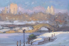 "Gapstow Bridge in Winter, 2015, 9 x 12"", Oil on linen on panel"