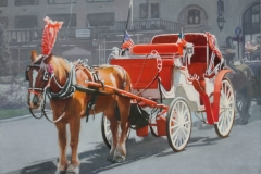 "Italian/American, Horse Carriage Near Plaza Hotel; 22x28"", Oil on linen"