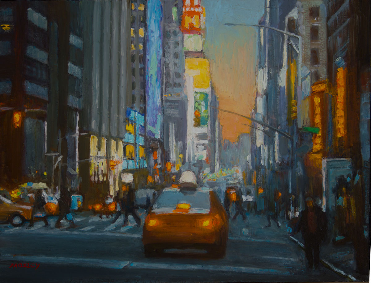 "Times Square, 11 x 14"", Oil on panel"