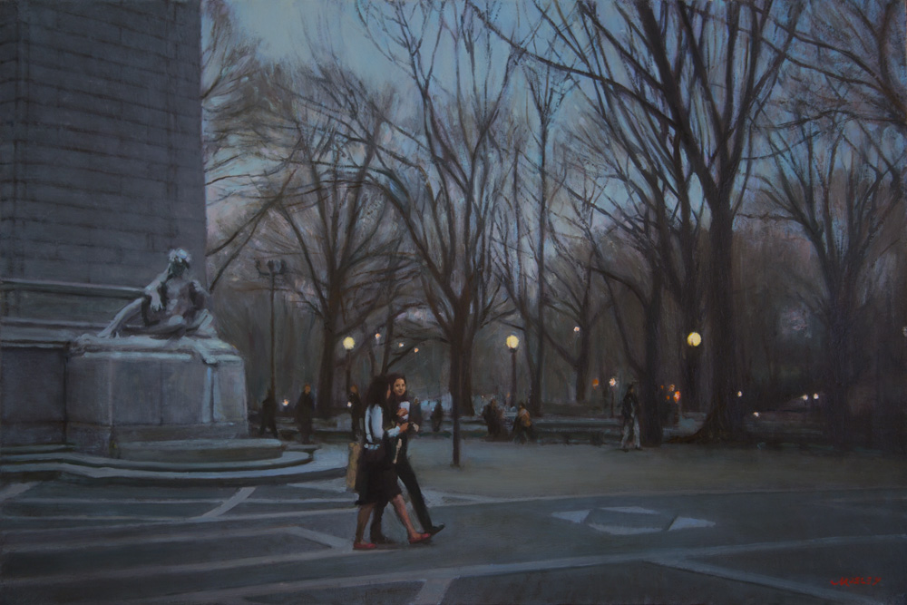 "Twilight at Maine Monument, 24 x 36"", Oil on linen"