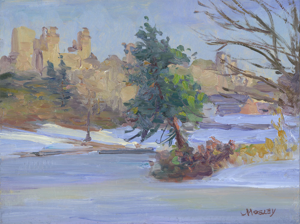 "View from the Ramble, 2015, 9 x 12"", Oil on linen on panel"