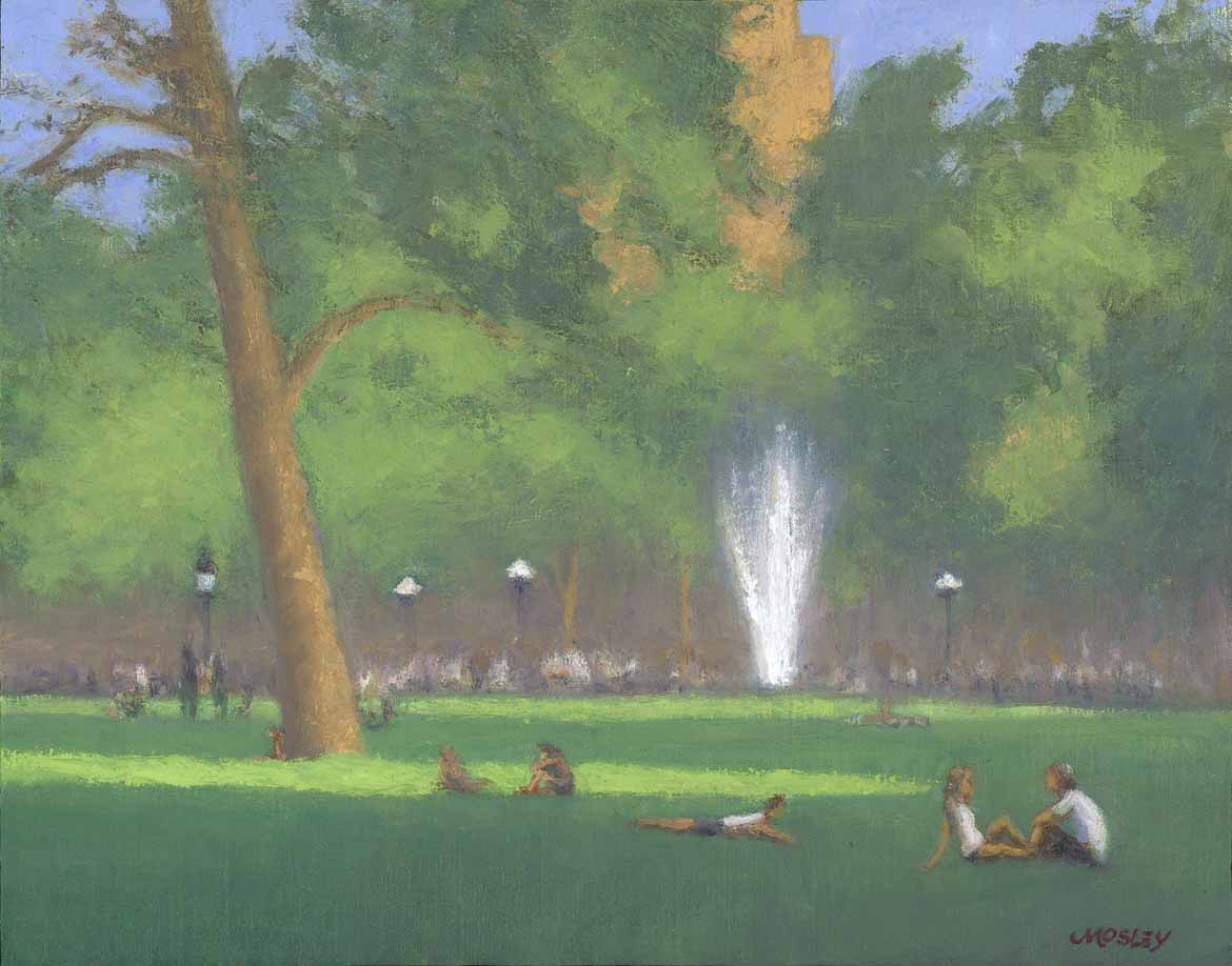 "Washington Square Park Summer, 12x16"", Oil on linen on panel"