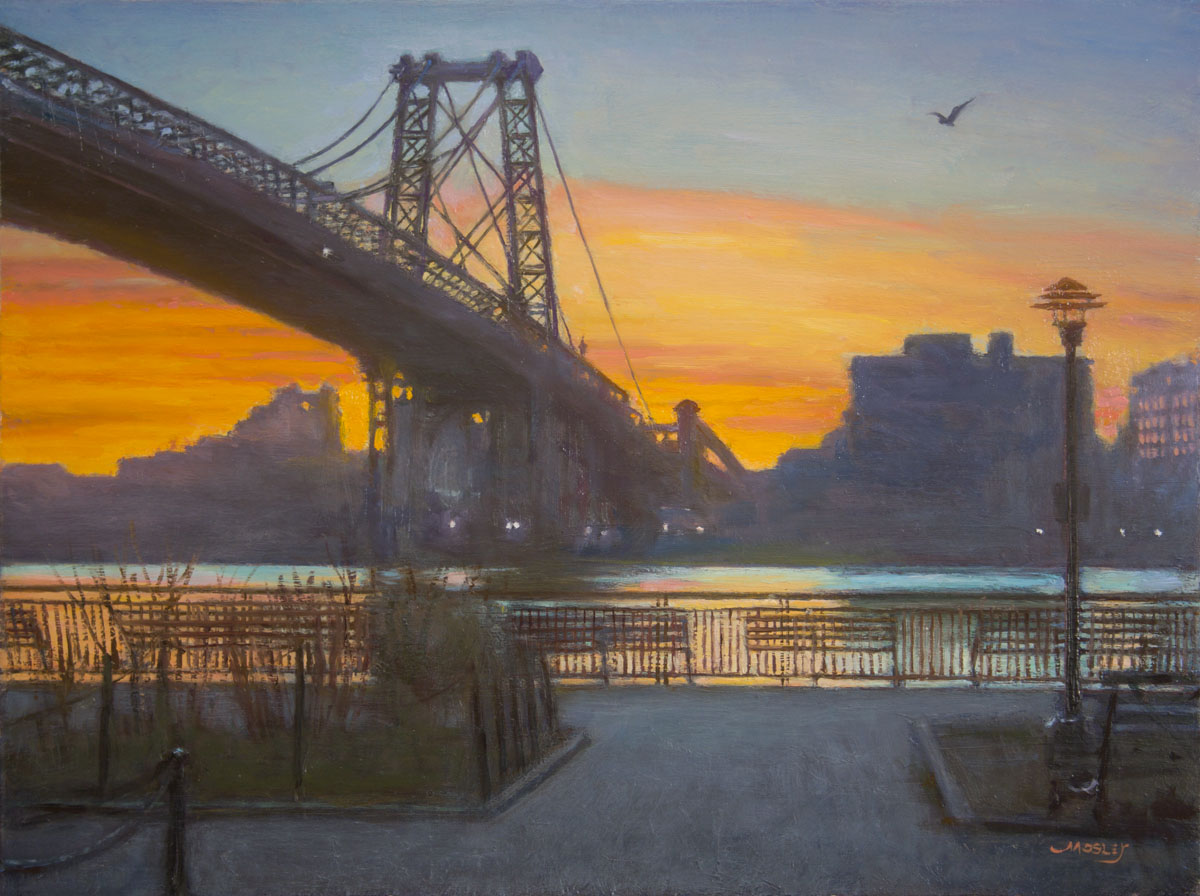 "Williamsburg Bridge Sunrise, 18 x 24"", Oil on linen"