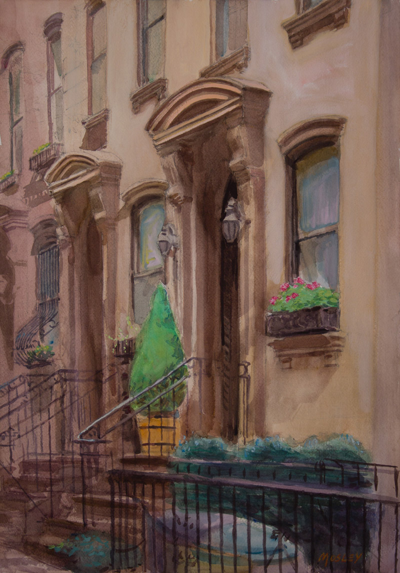 36th Street, NYC, Residence of Franklin Delano Roosevelt, 2013, 20x14, 29x14w/frame, Watercolor and Gouache, Exhibited North East Watercolor Society 2014 Annual Members Exhibition; The American Artists Professional League,85th Grand National Exhibition and awarded the Claude Parsons Memorial Award