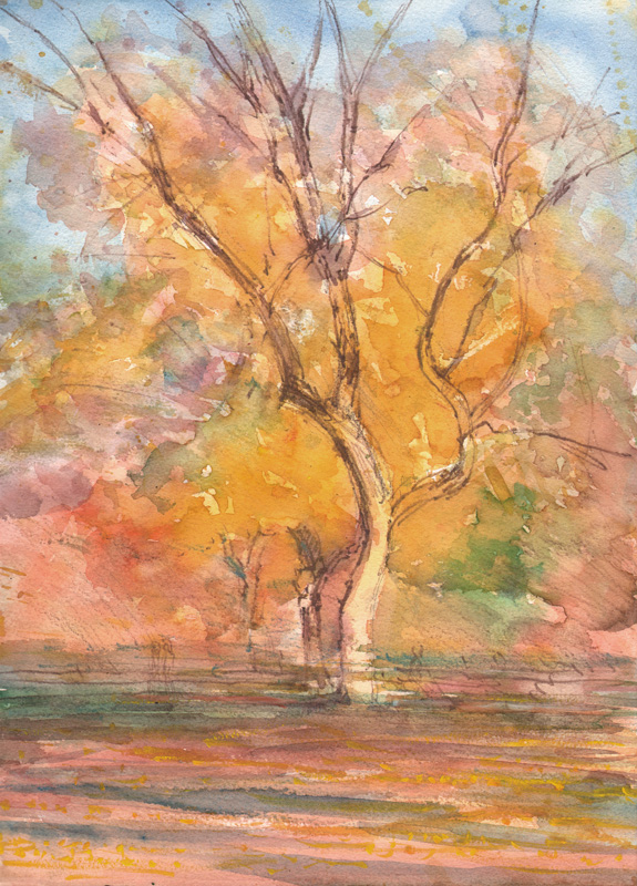 "Fall in the Mall, 2013, 14 x 10"" Watercolor and watercolor pencil  w/touches of gouache, Exhibited North East Watercolor Society of 2014 Annual Members Exhibition, Richeson 75 Landscape, Seascape and Architecture, 2014"