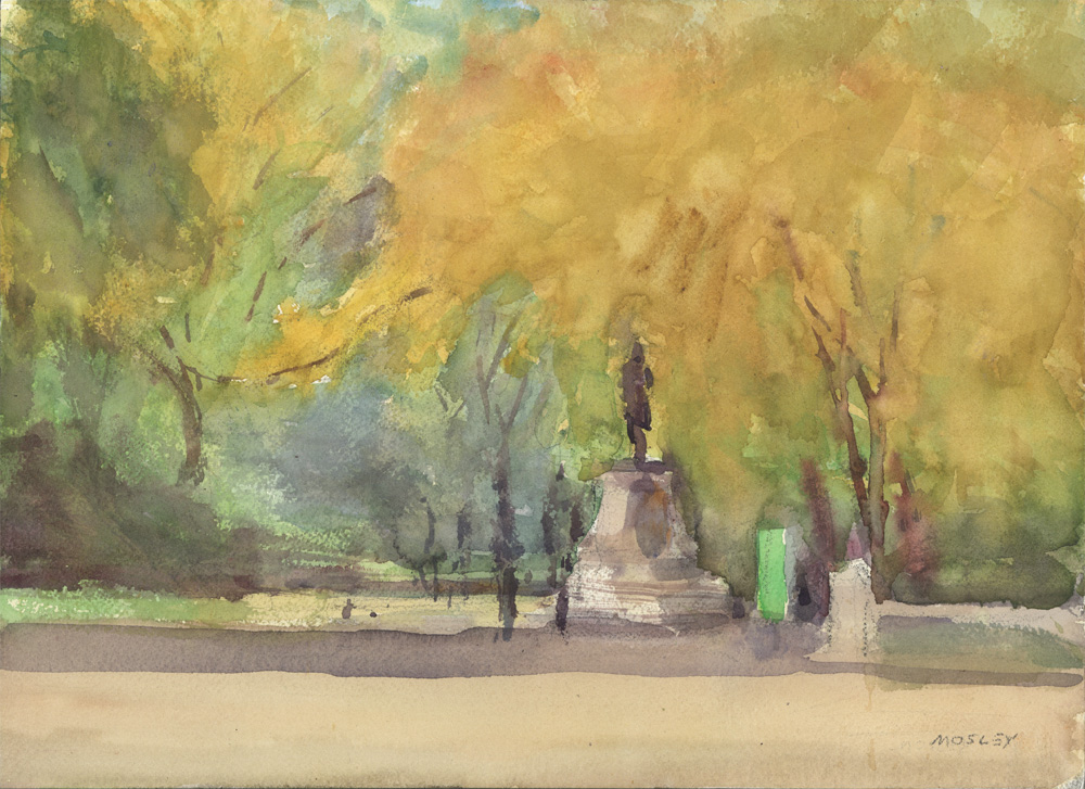 "The Mall in Fall, 2015, 10 x 14"", Watercolor"