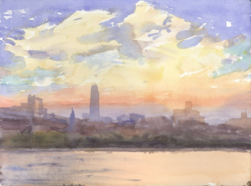 "New York City (sunset with Freedom Tower), 9 x 12"", Watercolor"