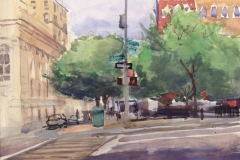 "Sixth Avenue and Bleaker, 12 x 16"", Watercolor"