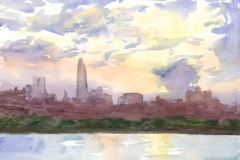 "New York City (sunset, with Freedom Tower), 9x12"", Watercolor , exhibited Red River 23rd Annual National Juried Watermedia Exhibition May 2016"
