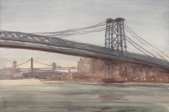 "Williamsburg Bridge, Grey Day, 12 x 16"", Watercolor w/ touches of gouache"