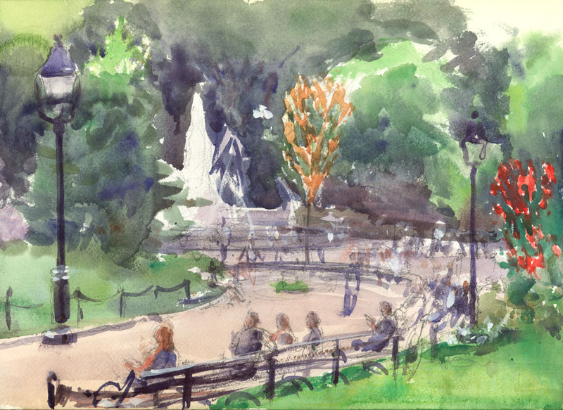 "Washington Square Park Fountain, 11 x 14"", Watercolor"