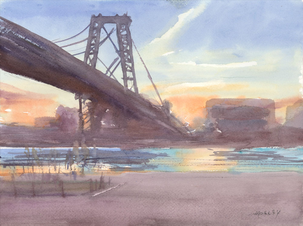 "Williamsburg Bridge Sunrise, February 2016. 10 x 14"", Watercolor"