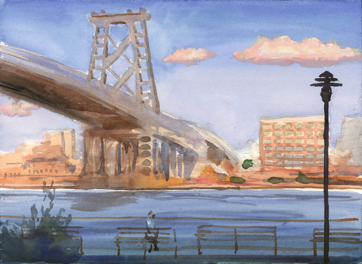"Young Lovers, East River Park, 10 x 14"", Watercolor, SOLD"