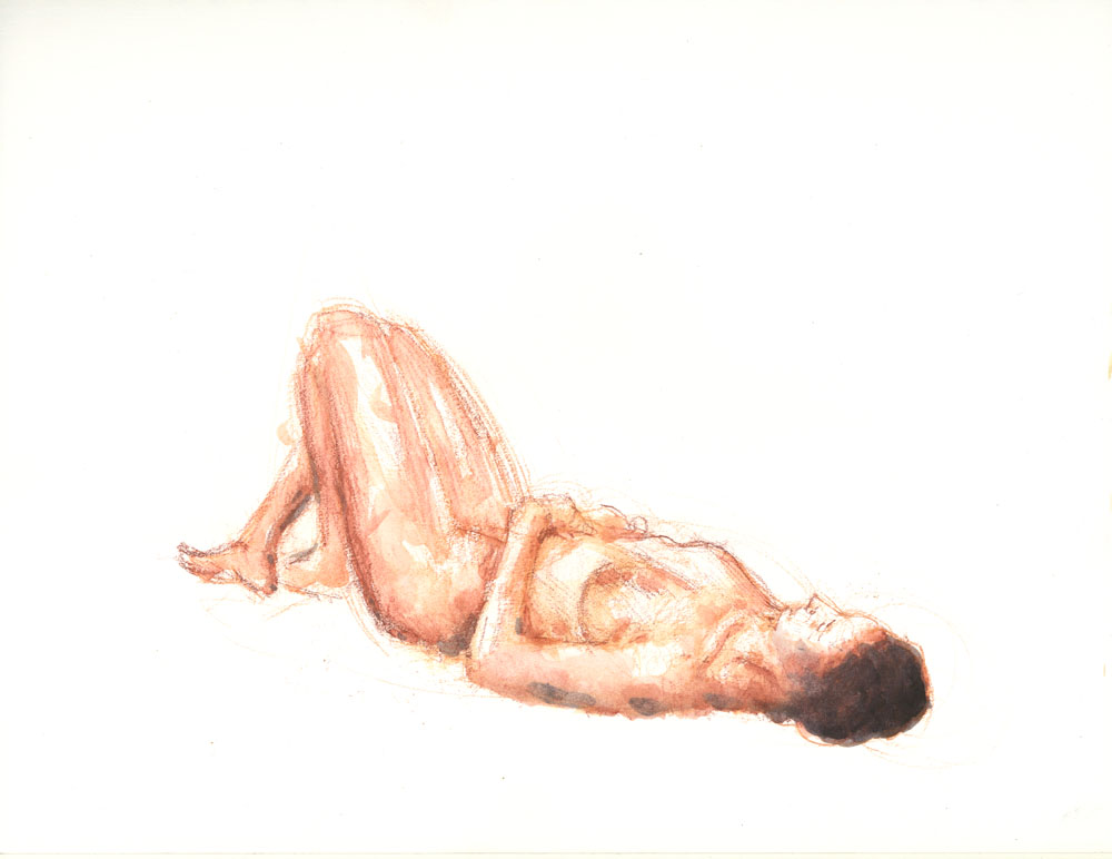 """Evelyn II, January 13, 2015, 11 x 14"""", Watercolor pencil"""