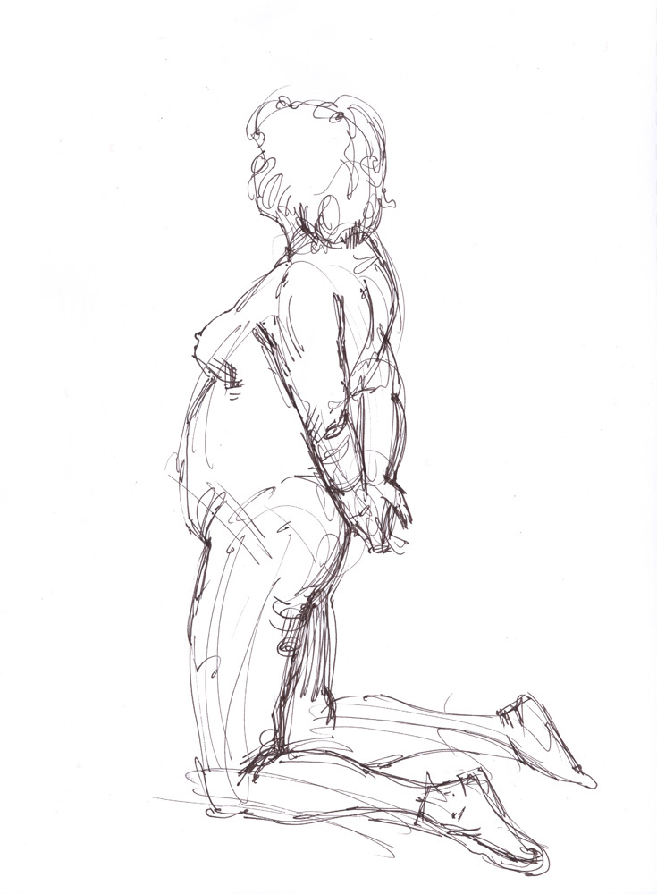 """Kneeling Female Nude, 11/17/2015, 13 x 10"""", Pen and ink and wash"""