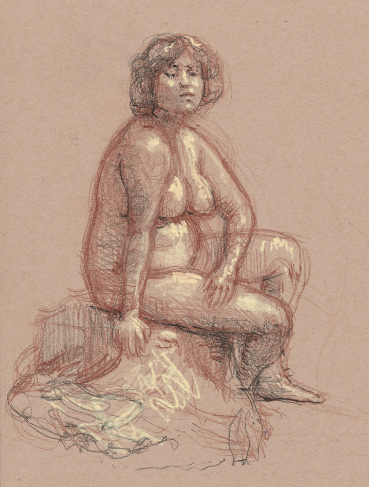 "Maya Seated, December 11, 2015, 14 x 11"", colored pencil and pastel"