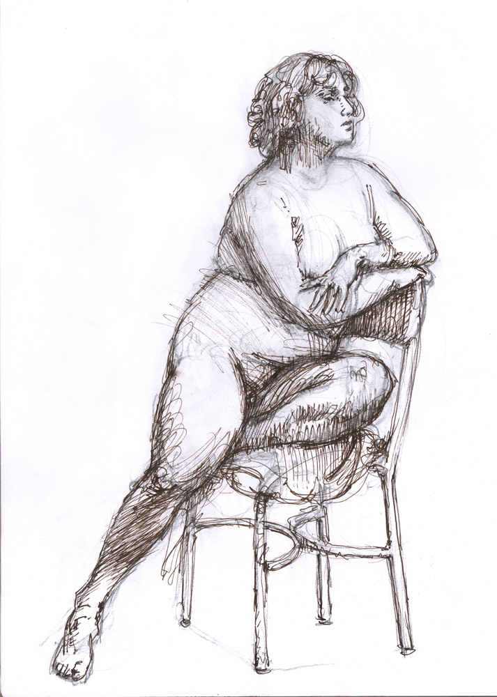 """Maya Seated, December 9, 2015, 14 x 11"""", Pen and sepia ink"""
