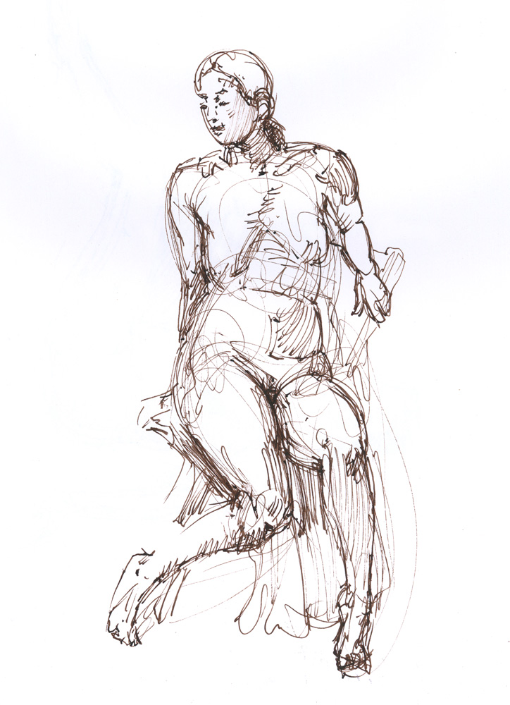 Pali Seated II, 11 x 14, Pen and ink
