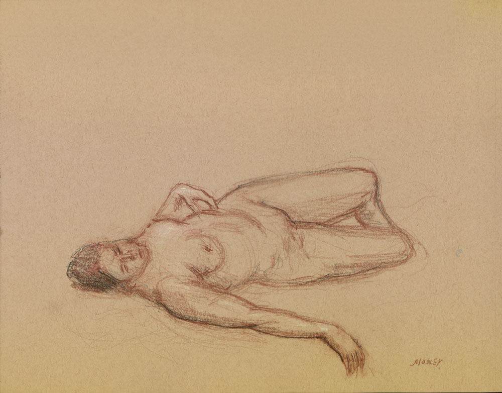 """Reclining Female, February 2, 2015, 11 x 14"""", Colored pencil and pastel"""
