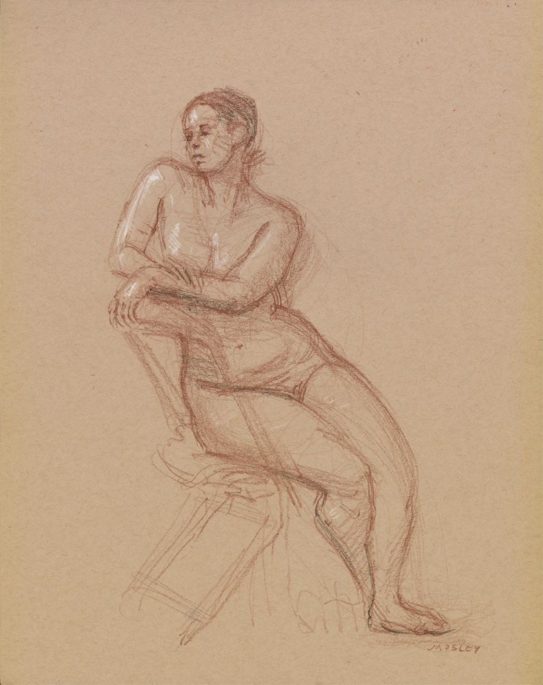 """Seated Female Nude, February 4th, 2015, 11x14"""", Colored pencil and pastel pencil"""
