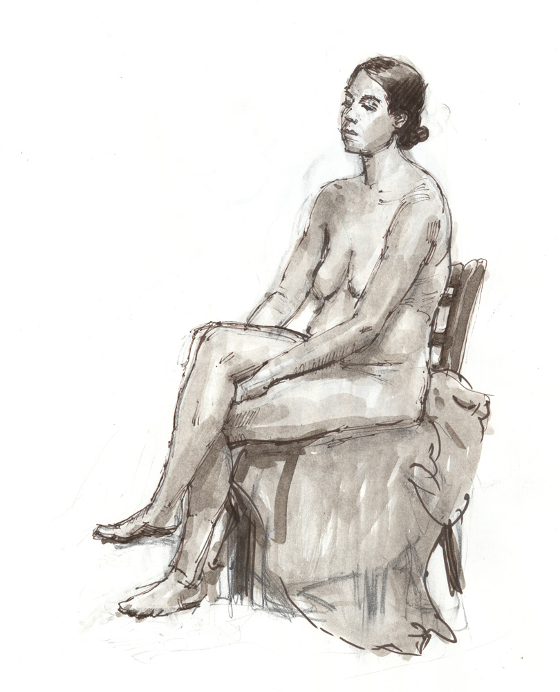 """Seated Female Nude, 8/30/2015, 12 1/4 x 10"""", Sepia pen & ink and wash"""