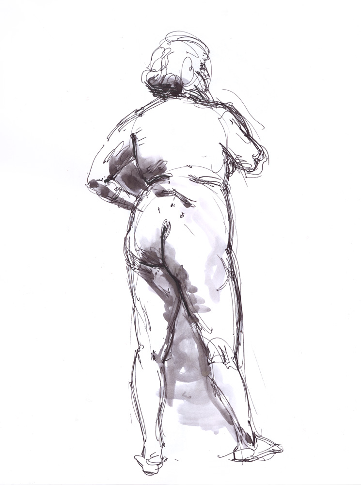 """Standing Female Nude, 11/18/2015, 13 x 10"""""""