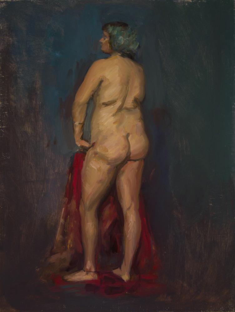 "Maya Standing, 24 x 18"", Oil on linen"