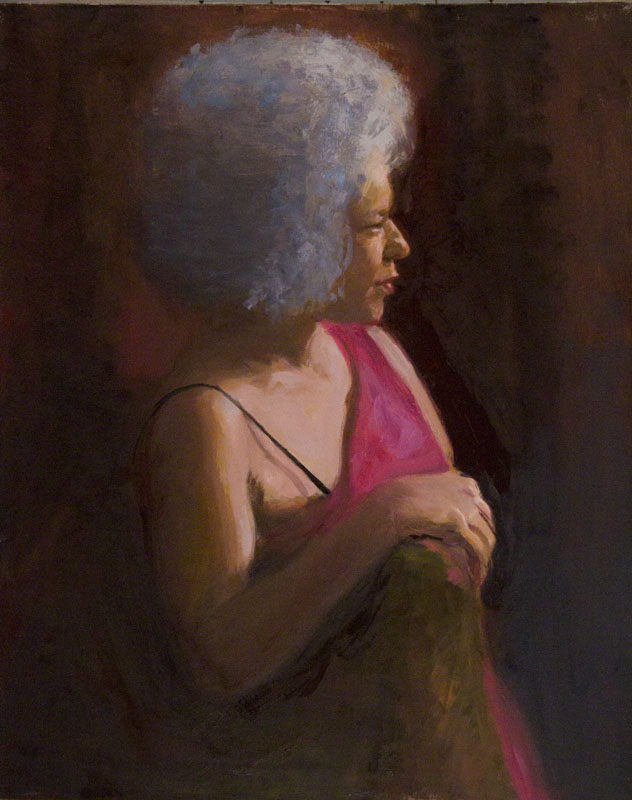 Regina Profile in Rim Light, Oil on linen, 30 x 24""