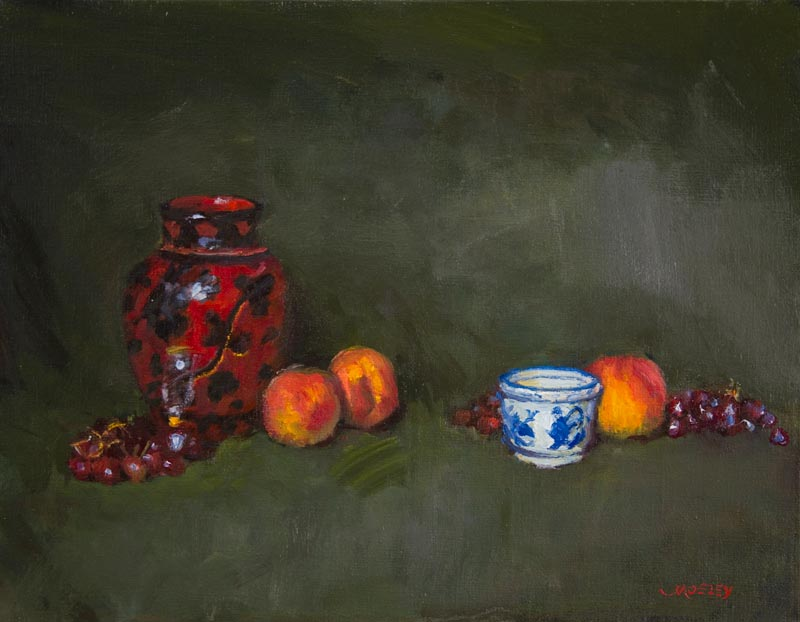 "Peaches with Blue Ceramic, 14 x 18"", Oil on linen, Exhibited A Benefit for NYC's Homeless, Ten10 Studios, Long Island City, NY, 2012"