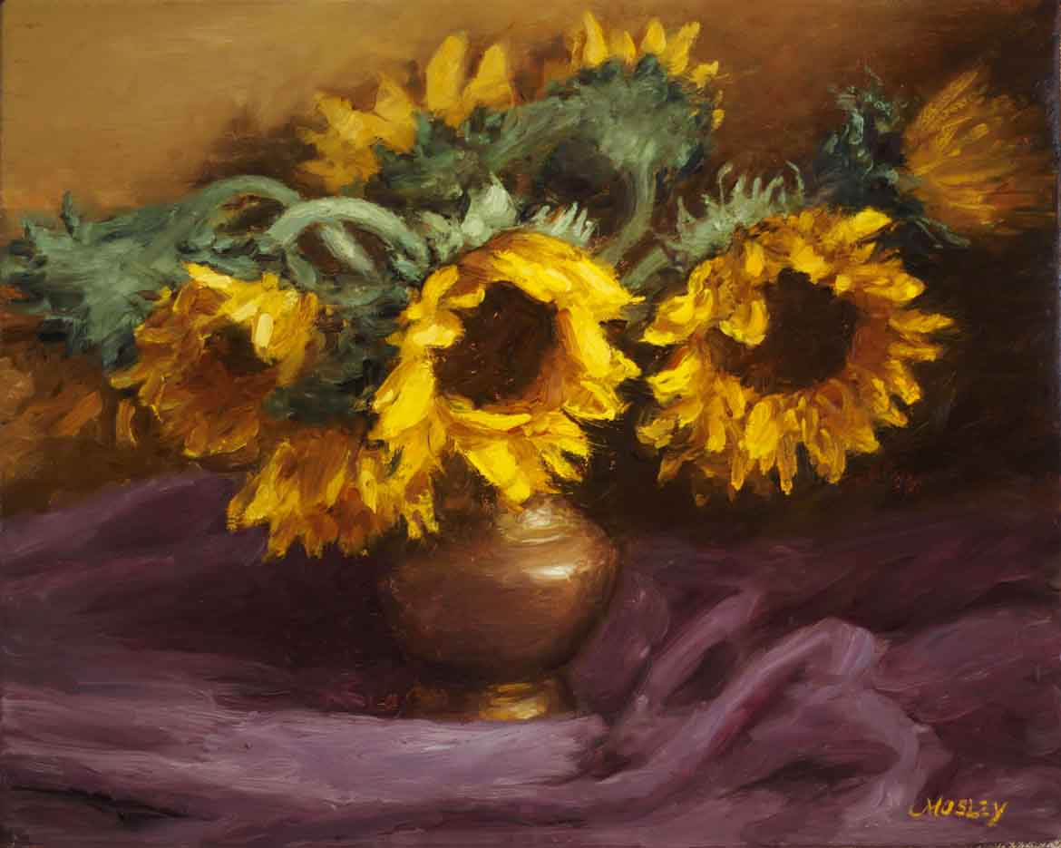Sunflowers, Purple Drapery