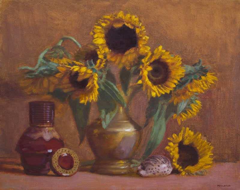 "Sunflowers, 18 x 23"", Oil on Linen, Exhibited Greenhouse Gallery Salon International, 2004; Salmagundi Club, 2004; SOLD"