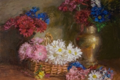 Flowers in a Basket and Brass Vase, 2008, 18x22, 22x26w/frame, Oil on Linen, Exhibited Art Essex Gallery Summer Invitational Exhibition, 2014