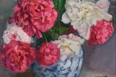 Outdoor Peonies, 2007, 20x16, Oil on Linen, Exhibited Grace Institute 2009