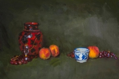 """Peaches with Blue Ceramic, 14 x 18"""", Oil on linen, Exhibited A Benefit for NYC's Homeless, Ten10 Studios, Long Island City, NY, 2012"""