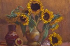 "Sunflowers, 18 x 23"", Oil on Linen, Exhibited Greenhouse Gallery Salon International, 2004; Salmagundi Club, 2004; SOLD"