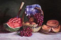 "Watermelon and Fruit Still Life, 24 x 32"", Oil on Linen"